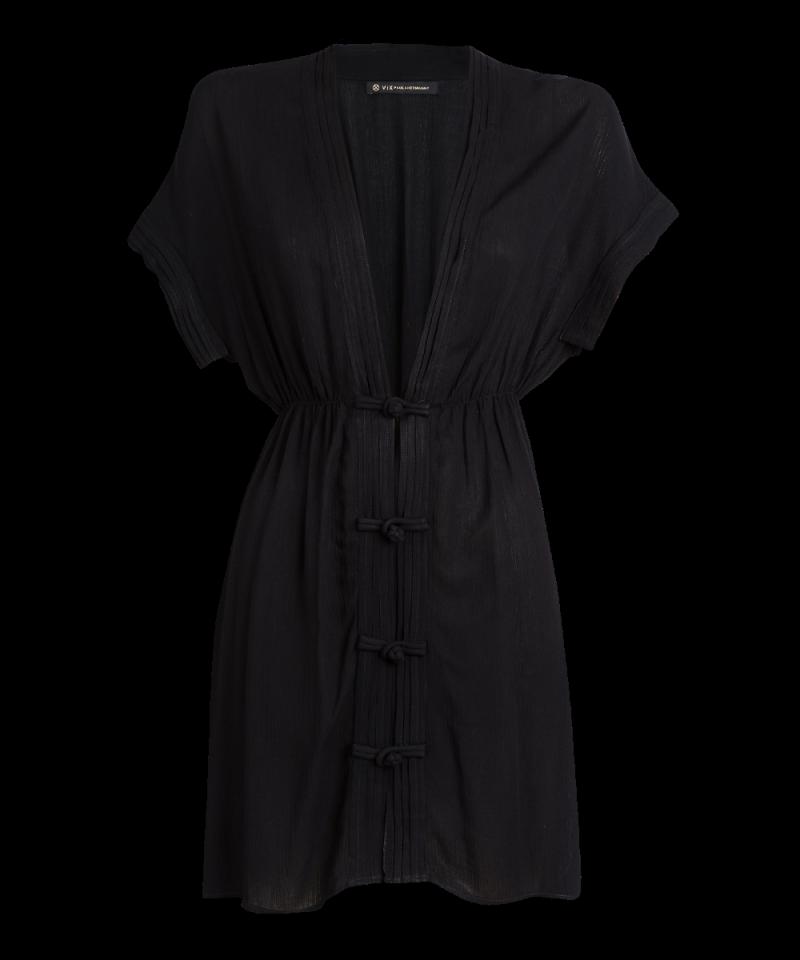 Luxurious buttoned black beach kaftan - SOLID FUJI CAFTAN BLACK