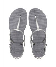 Gray thong sandals with silver straps - FREEDOM STEEL GREY