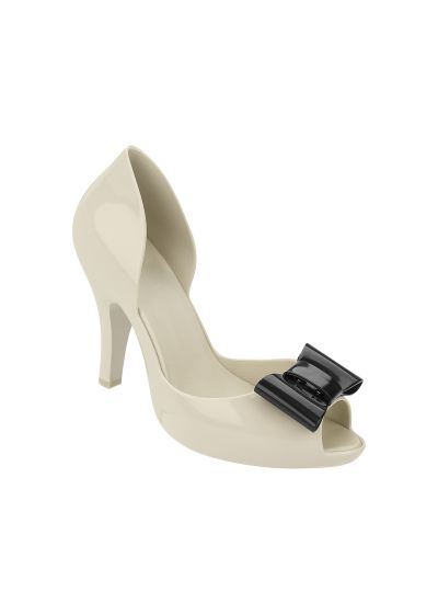 White heels with black bows - BEIGE- BLACK MEL CHANTILLY