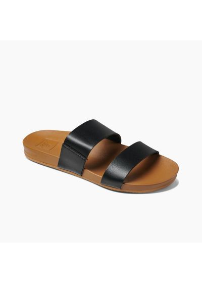 Anatomic flip-flops with black straps from natural vegan leather - CUSHION BOUNCE VISTA BLACK/NATURAL