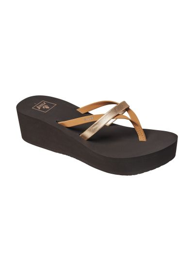 Comfortable wedge thongs with crossed straps - BLISS WILD HI BROWN GOLD