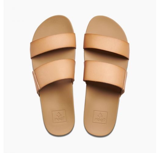 Anatomic flip-flops with beige straps from natural vegan leather - CUSHION BOUNCE VISTA NATURAL