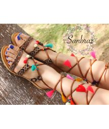 Wayuu handcrafted gladiator sandals in leather - SANBRAZ ALYSA