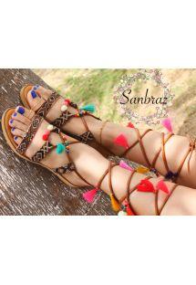 Wayuu handcrafted gladiator sandals in leather - SANBRAZ ALYSA