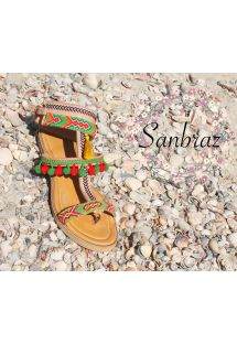 Wayuu handcrafted leather sandals with tassels - SANBRAZ GRECA