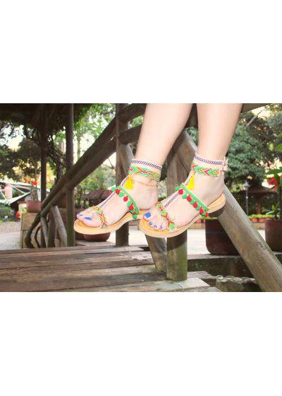 Wayuu handcrafted leather sandals with tassels - SANBRAZ GRECA