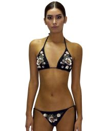 Back scrunch Brazilian bikini with sequined flowers - CLASSIC ROSA PASTEL