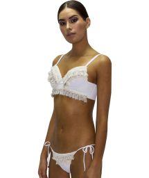 Bikini bustier luxe blanc franges et dentelle - FRINGE JUNGLA NATURAL