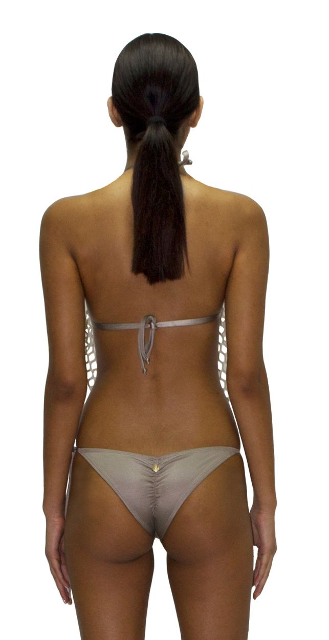 Luxurious beige scrunch bikini with openwork - RED SEDUCCION