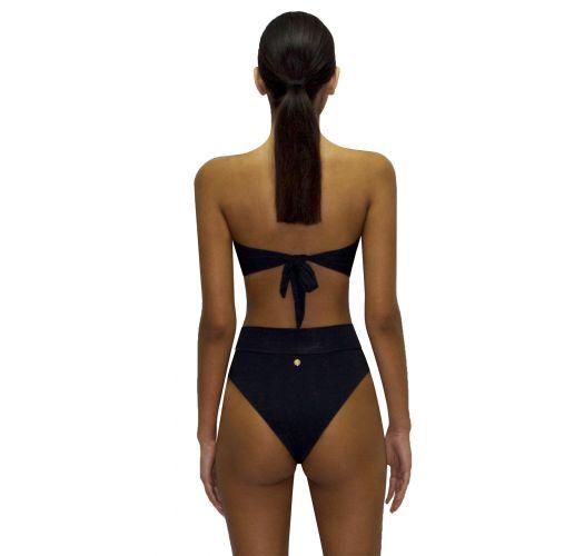 High-Waist-Bandeau-Bikini, Paillettenblüten - RETRO ROSA PASTEL