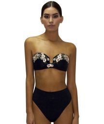 Black high-waisted bandeau bikini with sequined flowers - RETRO ROSA PASTEL
