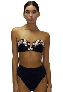 Czarne bikini z wysokim stanem z topem bandeau z kwiatami z cekinów - RETRO ROSA PASTEL