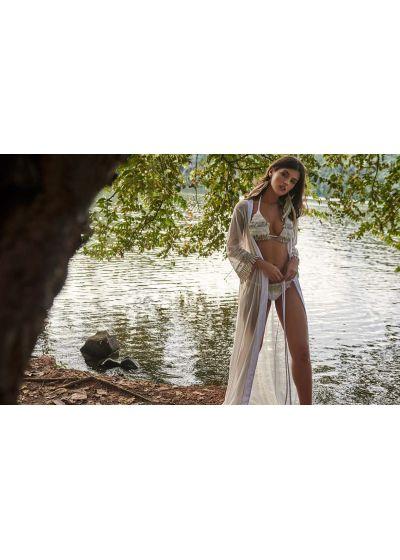 Scrunch white Brazilian bikini with lace - RUFFLE JUNGLA NATURAL