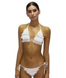 Rynkad, vit bikini med spets - RUFFLE JUNGLA NATURAL