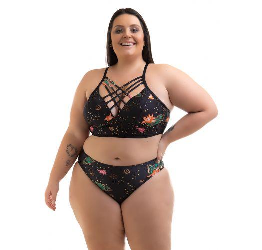 Plus size printed black strappy crop top bikini - BIKINI ALYCIA PRETO