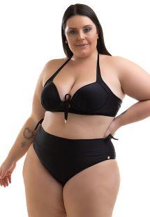 Plus size black balconette bikini with a high waist bottom - BIKINI BETYNA PRETO