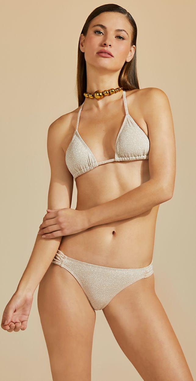 Luxurious nude Brazilian bikini with silver lurex - BOJO DUPLA FACE