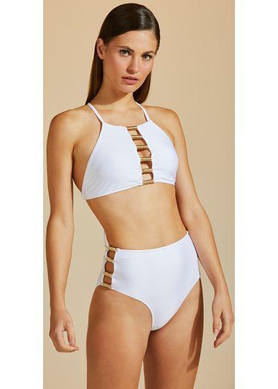 Luxurious accessorized white crop top bikini - BOJO TUBO DE LINHA