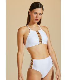 Luxurious accessorized white crop top bikini - BOJO TUBO DE LINHA