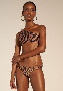 Luxurious brown zebra / leopard crop top bikini - OMBRO ANIMAIS SELVAGENS