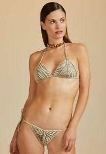 Bikini in lurex con top triangolo - TIRAS LUZ-MESCLA CLARO