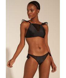 Black scrunch bikini with transparent details and ruffled straps - TULE ILHEUS PRETO