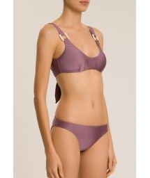 Gray mauve luxurious bralette swimsuit - SOLID BIKINI WITH STRAPS AND HOOP DETAIL