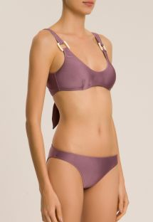 SOLID BIKINI WITH STRAPS AND HOOP DETAIL
