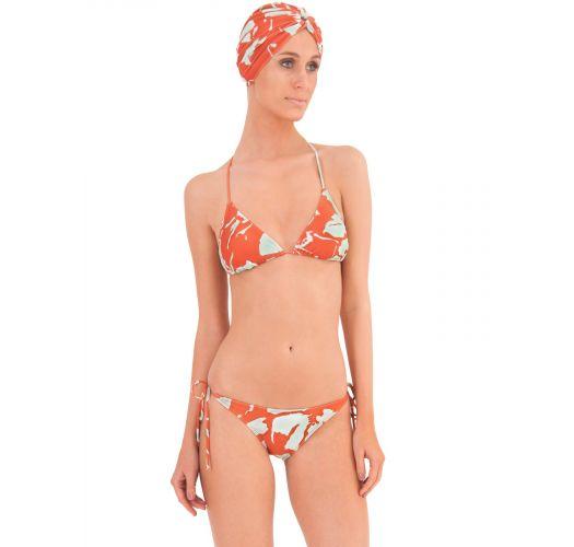 Luxury triangle swimsuit with orange print - BALINESE ORANGE