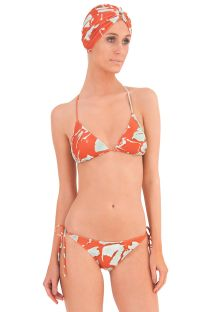Luxury triangle swimsuit with orange print - BALINESE ORANGE
