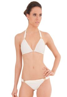 White Brazilian bikini with gold details - CHIC CHANTILLY