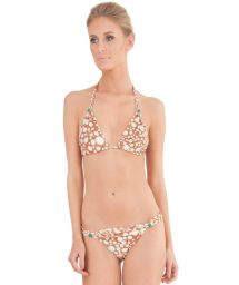 Beige smudge print scarf-effect triangle bikini - RAY FISH NUDE