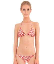 Red smudge print triangle bikini - RAY FISH RED