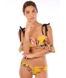 Yellow bandeau bikini with ribbons and frills - DINASTIA ORIENTAL