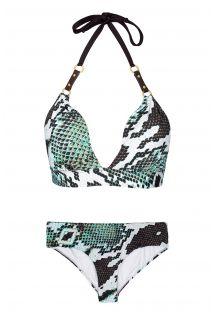 Bikini mit Schlangenhautmuster, Leder-Details - PITON AMAZONICO