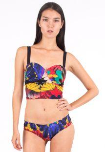 Corsage bikini med tropisk mønster og snørebånd på ryggen - PLUMA HIPSTER