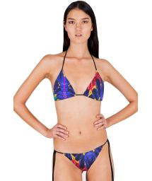 Sliding triangle bikini with tropical print - PLUMA REAL