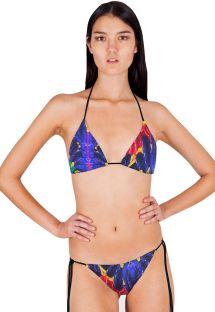 Glidende trekant bikini med tropisk mønster - PLUMA REAL