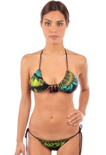 Tropical scrunch bikini with tassels - SELVA NEGRA