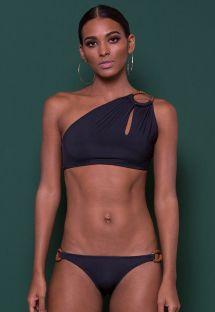 בגד ים בסגנון קרופ-טופ בעיצוב מהודר צבע שחור אוריגינלי - BOGOTA CROPPED