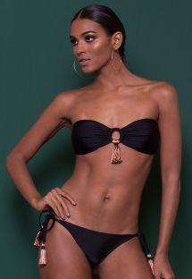 Luxurious black bandeau bikini with tassels - COLOMBIA