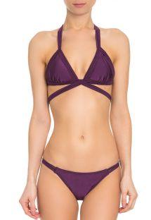 Luksuriøs violet trekant bikini med iriserende effekt og krydset detalje - FIXA TUCANO