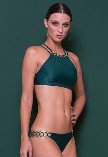 Luxurious deep green crop top bikini with decorative rings - JACARE CROPPED