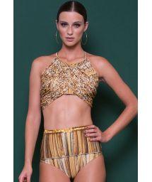 Luxurious gold high waist bikini bottom and crop top - PALHAS DOURADO