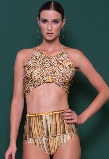 Luksuriøs bikini med høj talje og gyldenbrun crop top - PALHAS DOURADO