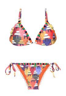 Farvestrålende bikini med mini-pomponer - PERUANAS