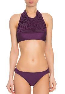Bikini crop top fioletowe błyszczące z wieloma paseczkami - TUCANO ROXO