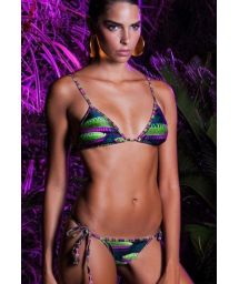 Luxurious printed triangle bikini with tassels - VITORIA REGIA LACINHO