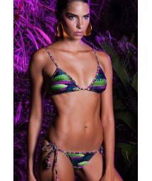 Luxurious printed triangle bikini with tassels - VITORIA REGIA LACINHO