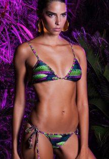 Triangulo bikini lujo estampado con ponpon - VITORIA REGIA LACINHO